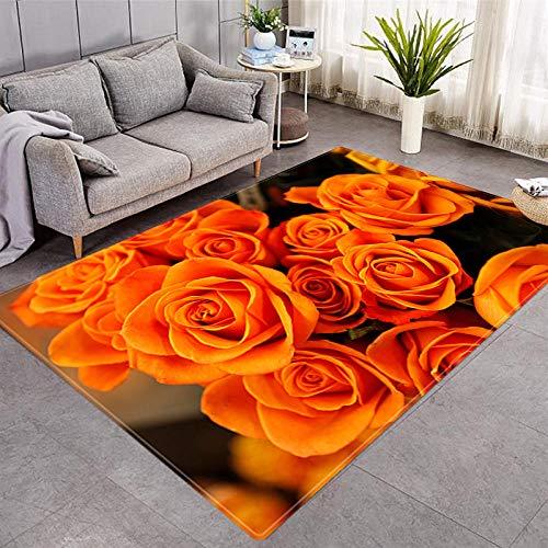 Rug Modernas Dormitorio Sala de Estar Antideslizante Mat Durable Fácil Mantenimiento Flores anaranjadas 100X160CM(3.3ft x 5.2ft)