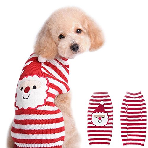 DELIFUR Santa Claus Sweater Pet Sweater Xmas Dog Holiday Sweaters Christmas Sweaters Cold Weather Coat for Small to Medium Sized Dogs And Cats(M)