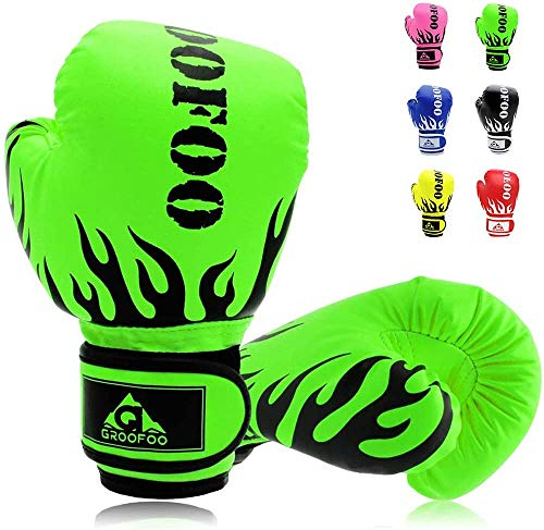 GROOFOO Kinder Boxhandschuhe für Kinder Boxsack Sparring Training, 4oz 6oz fit 3 bis 14 Jahre (Grün, 6oz)