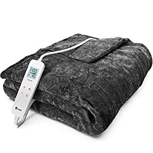 Vremi Electric Blanket - 50 x 60 inches Throw Heated Blanket with 6 Heat and 8 Time Settings - Flannel Fleece Heating Pad with 10 feet Cord, LCD Display Controller, Auto Shut Off, Washable Cover from Vremi