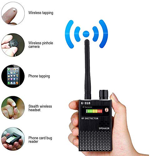 LIUDOU Drahtloser Detektor Spiondetektor Anti-Spionagesignal-Detektor GPS-Signal-Detektor Spionagefehler Kamera GPS-Funk-Scanner-Finder GSM-Geräte-Finder,Schwarz