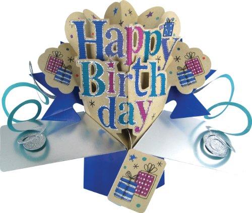 Suki Gifts POP087 Pop Up Grusskarte, Happy Birthday/Geburtstag, mehrfarbig