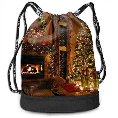 Valender Vintage Kamin Weihnachtsdruck Kordelzug Rucksack Tasche Outdoor Bundle Rucksack Gym Sackpack Sport Cinch Bag Laptop Sack Tasche