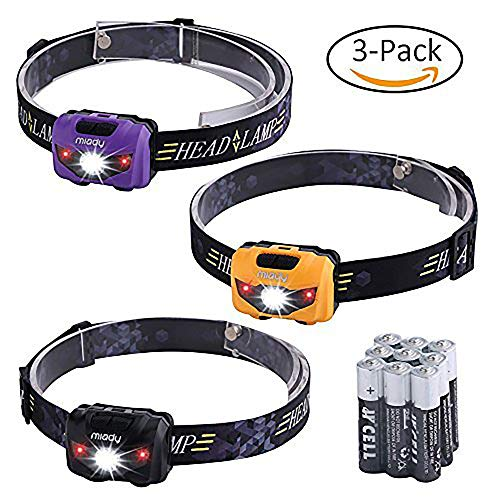 Miady LED Headlamps, 160 Lumen CREE LED + Red Light, Waterproof, Lightweight, AAA Batteries Included - 3 Pack