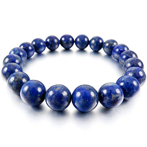 YeBetter 10Mm Pulsera De Mu?eca con Eslabones Azules Lapislázuli Piedra De Budista Cuentas De Oración para Mujer, Hombre