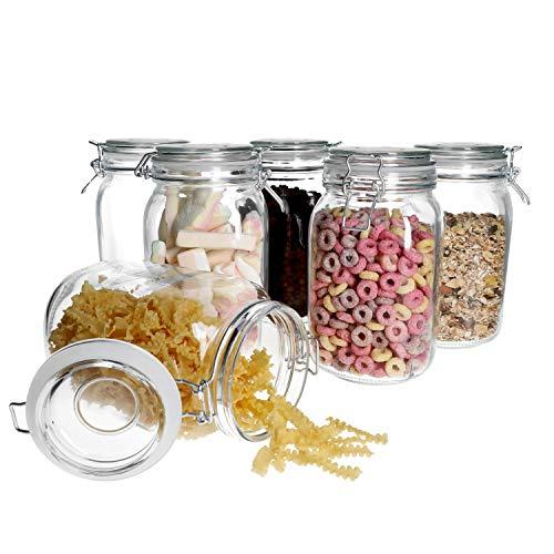 MamboCat 6-tlg. Set Vorratsgläser Foody mit Bügelverschluss 1,5L I Aufbewahrungsgläser mit Drahtbügel 11,5 x 11,5 x 20 cm I Bügelglas - Vorratsglas - Drahtbügelglas I Vorratsdosen luftdicht