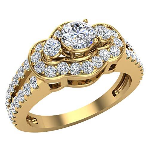 Anillo de compromiso de 1,00 ct tw con tres piedras con vástago dividido de aspecto ancho y oro de 18 quilates (G,VS)