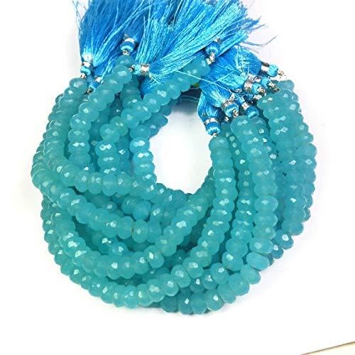 Shree_Narayani Cuentas sueltas de calcedonia azul de alta calidad con micro facetas Rondelle 9 mm 8 pulgadas para hacer joyas, manualidades, collares, pulseras, pendientes, 1 hebra