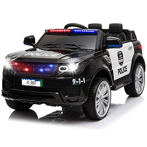 papasbox Kids Police Ride On Car,12V SUV Battery Operated Electric Cars W/ 2.4G Remote Control,Spring Suspension,LED Siren Flashing Light,Music& Horn Intercom,Openable Doors,AUX,USB Port