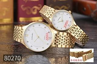 Xiangjin Wrist Watches,Women Fashion Thin Waterproof Steel Band Wrist Watch for Lovers