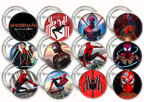 Spiderman Far from Home Movie Buttons Party Favors Supplies Decorations Collectible Metal Pinback Buttons Pins, Large 2…