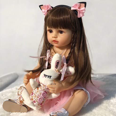 KRR Reborn Baby Dolls Cute Girl, 18 Inch Realistic Full Body Silicone Baby Reborn Dolls, Lifelike Washable Waterproof Reborn Dolls, Newborn Toddler Baby Gifts for Kids Age 3+