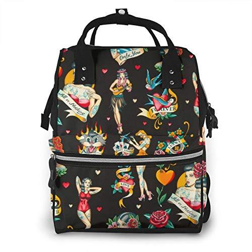 HleHjum Mommy Bag Big - Bolsa de viaje funcional grande para el cuidado del bebé, diseño retro con rosas en color negro