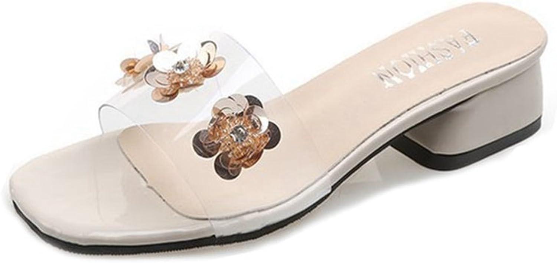 GIY Womens Chunky Heel Mule Peep Toe Block Heel Slide Sandal Open Toe Heel Sandal Trendy Slipper shoes