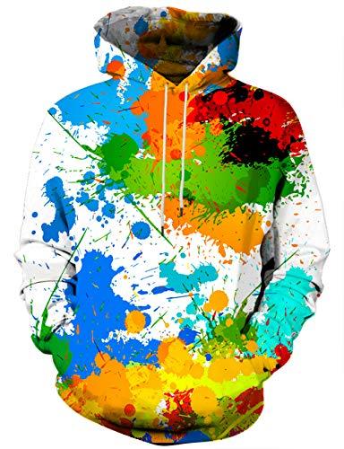 Hgvoetty Unisex Colorful Sweatshirts 3D Graphic Hoodies for Men Women XXL