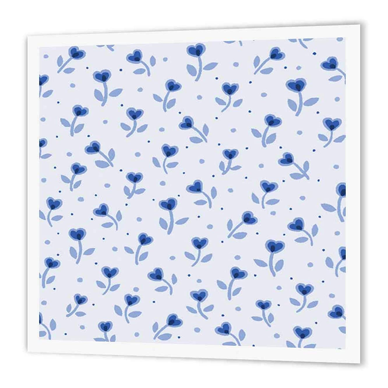 3dRose ht_194792_1 Print of Tiny Blue Shabby Chic Heart Flowers Iron on Heat Transfer Paper for White Material, 8 by 8