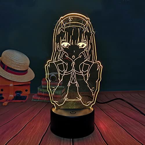 Luz de noche (Wa-4-Fr) Darling In The Franxx Luz de noche de anime, Zero Two 02 Touch Remote Lámpara de escritorio LED Decoración de dormitorio, Regalo de cumpleaños de Navidad
