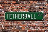 BCTS - Letrero de tetherball para tetherball, regalo de tetherball, jugador de tetherball, juego de tetherball, letrero de calle al aire libre, 4 x 40 cm