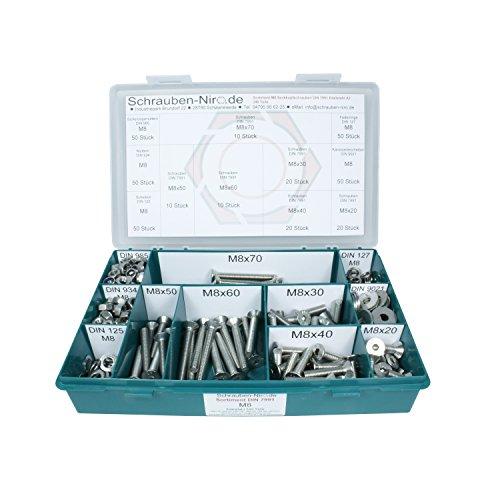 Sortiment M8 DIN 7991 (ISO 10642) Edelstahl A2 (V2A) Senkschrauben (Innensechskant) - Set bestehend aus Schrauben, Unterlegscheiben (DIN 125, 127, 9021) und Muttern (DIN 934, 985) - 340 Teile