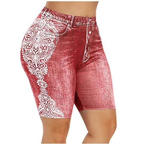 Pantalones cortos elásticos para mujer, estilo vaquero impreso, cintura alta, rojo, M