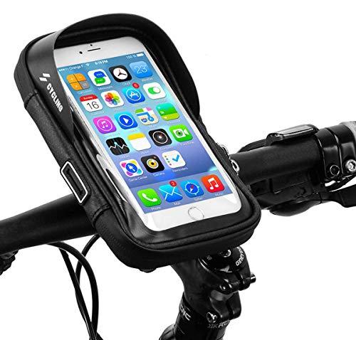 CYCLING 自転車 スマホ ホルダー 収納可能 防水 防圧 遮光 多機能 携帯ホルダー 6.0インチスマホ対応 iphone android 多機種対応 防水バッグ バイク スクーター ホルダー (ブラック)