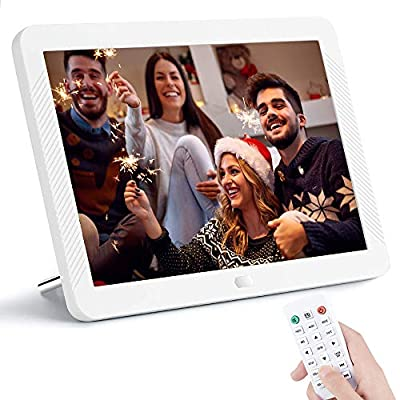8 Inch Digital Picture Frame 1920x1080 IPS Widescreen, Digital Video Photo Frame with 100 Brightness, 10 Slideshow Effects, 5 Play Modes and Calendar Alarm SD/USB Slots-White