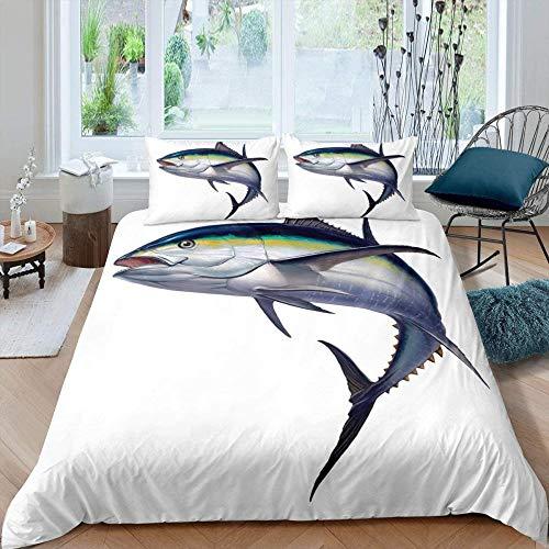 dsgsd Juego de funda nórdica 3D de 3 piezas Tiburón minimalista moderno de la vida marina 150x220cm Juego de funda nórdica Juego de ropa de cama doble tamaño Queen King Size Juego de sábanas de edredó