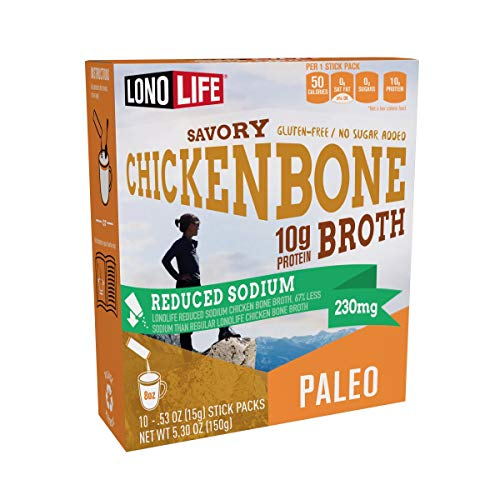 LonoLife Reduced Sodium Chicken Bone Broth Powder with 10g Protein, Paleo and Keto Friendly, Gluten-free, Portable Individual Packets, 10 Servings (Equal to 80 ounces of liquid broth) 10 Count