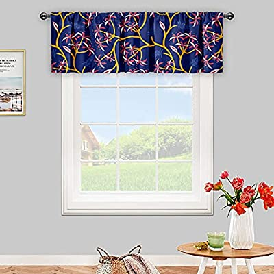 Amazon - 50% Off on Valance Curtain for Windows Floral Print Rattan Equinox Flower Blackout