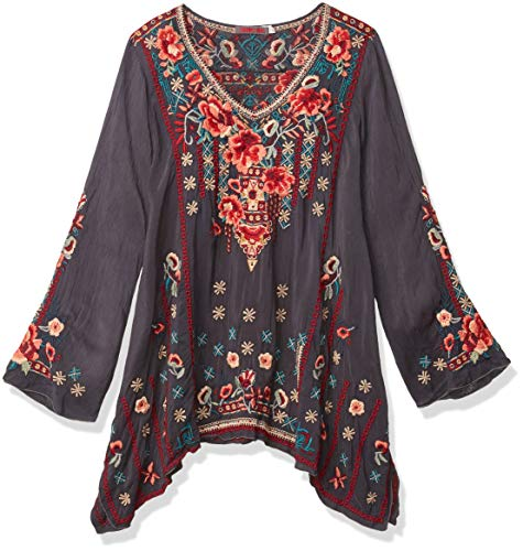 Johnny Was Damen Long Sleeve Drapey Rayon Embroidered Blouse Tunika-Oberteil, Graphit, Klein