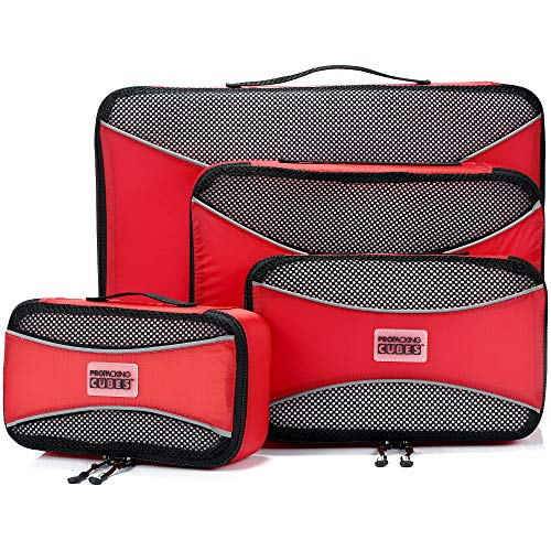 PRO Packing Cubes for Travel | 4-Piece Luggage Organiser Bags Set | Premium Quality Ultralight Travel Cubes for Packing Suitcase, Carry-on, Bags and Backpack - Hot Red