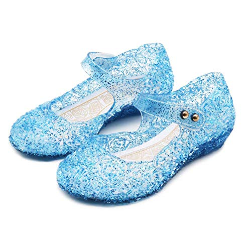 Amtidy Frozen Inspired Elsa Flats Mary Jane Dance Party Cosplay Shoes, Snow Queen Princess Birthday Sandals for Little Girls, Toddler Blue 9M Toddler