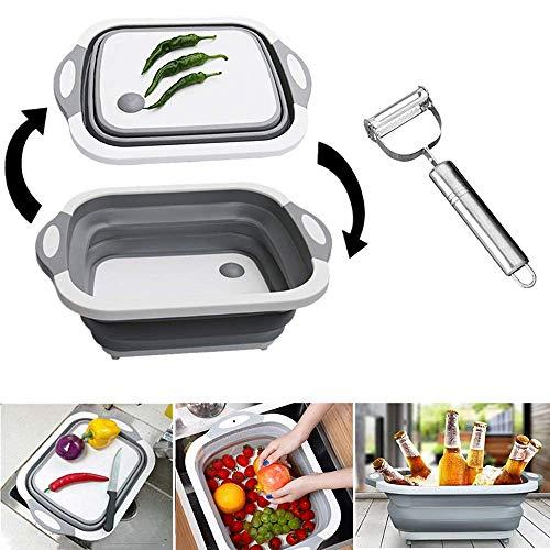 Tagliere da cucina multifunzione pieghevole e 1 pelapatate, tagliere pieghevole con colino, lavello 3 in 1 pieghevole, in silicone per uso alimentare, per verdura e frutta, colore: grigio