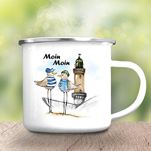 """Wandtattoo-Loft Campingbecher """"Moin Moin"""" mit Möwen und Leuchtturm Emaille Tasse/Becher mit Motiv/silberner Tassenrand"""