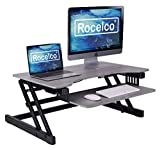 Rocelco 32' Height Adjustable Standing Desk Converter - Quick Sit Stand Up Dual Monitor Riser - Gas Spring Assist Tabletop Computer Workstation - Large Retractable Keyboard Tray - Grey (R ADRG)