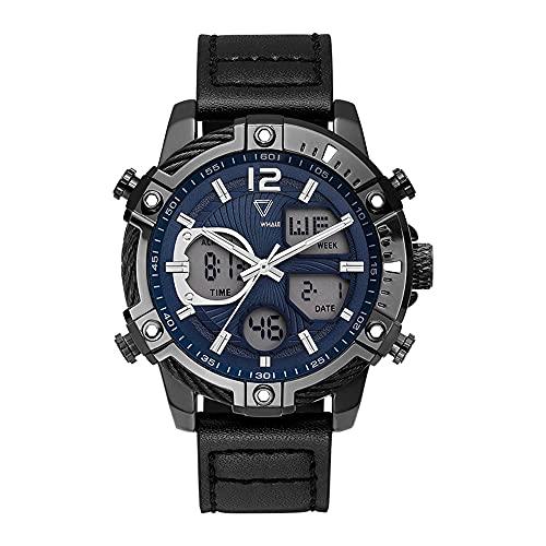 XYQC Nuevos Relojes electrónicos Impermeables con Esfera Grande para Hombre, Reloj con Pantalla multifunción de Doble Movimiento y Personalidad de Moda para Hombres,D