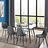 IDS Home Mid Century Clear Glass Dining Room Table Furniture Set for 4/6, Fabric...