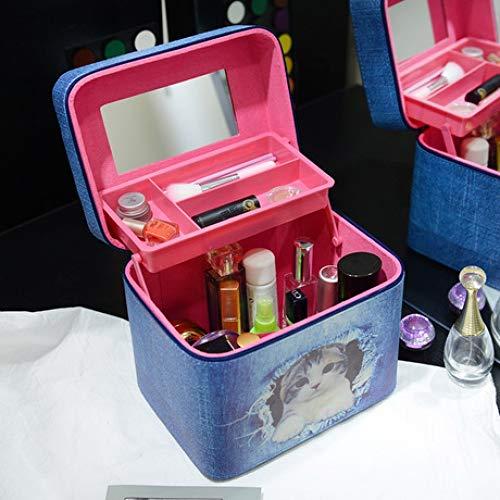 Boîte à Bijoux Sac Cosmétique Multi-Fonction Sac de Rangement cosmétique Trousse à Maquillage pour Dame Portable en Cuir Bleu