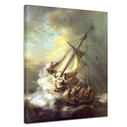 Wandbild Rembrandt Christus im Sturm auf dem See von Galilea - 50x70cm hochkant - Alte Meister Berühmte Gemälde Leinwandbild Kunstdruck Bild auf Leinwand
