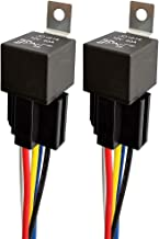 ARTGEAR JD1914 12V 40A Car Relay with Harness Sockets, 5 Pin SPDT Relay with Color-Labeled Wires for Automotive Truck Van Motorcycle Boat (Pack of 2)