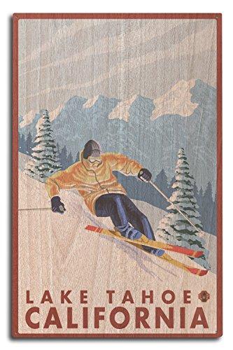 Lantern Press Lake Tahoe, California - Downhill Snow Skier (10x15 Wood Wall Sign, Wall Decor Ready to Hang)