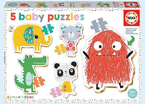 Baby Puzzles, puzzle infantil Baby Lemon Ribbon, 5 puzzles progresivos de 3 a 5 piezas, a partir de 24 meses (18592)