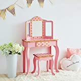 Teamson Kids TD-11670L Gisele Girls Wooden Dressing Table Vanity Set with Stool & Mirror for Kids Dress Up, Pink/Rose Gold