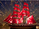 DIY Paint by Numbers for Adults and Kids Firework Landscape Red Sailboat Canvas with Paintbrushes Color Acrylic DIY Drawing Premium Quality Paintwork 40x50cm