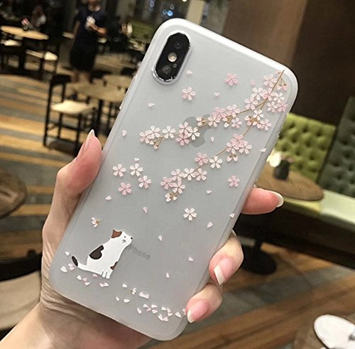 iPhone X Soft Case,LuoMing 3D Emboss Beautiful Flower Pattern Slim fit Shock-Absorbing Soft Rubber Clear TPU Skin Cover Case for iPhone X 5.8inch(2017) (Cat and Sakura)