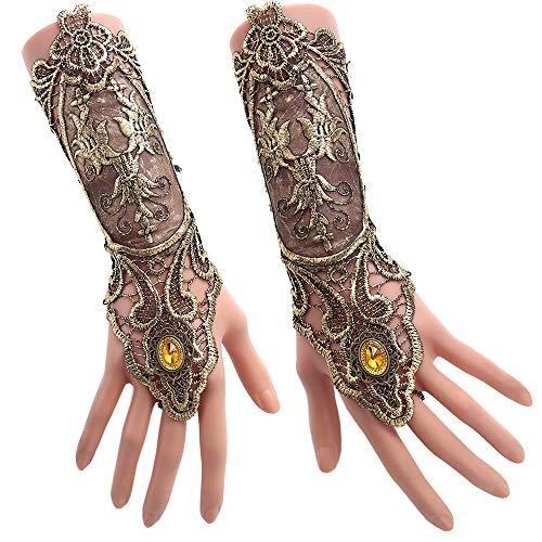Juland Fingerlose Spitzenhandschuhe Damen Gothic Blumenspitze Steampunk Armband Ring Vintage Perlen Handgemachte Schnürschuhe Braut Armband Ring Set - 1 Paar - Bronzieren