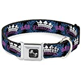 Buckle-Down Seatbelt Buckle Dog Collar - Crown Princess Oval Black/Turquoise - 1' Wide - Fits 15-26' Neck - Large