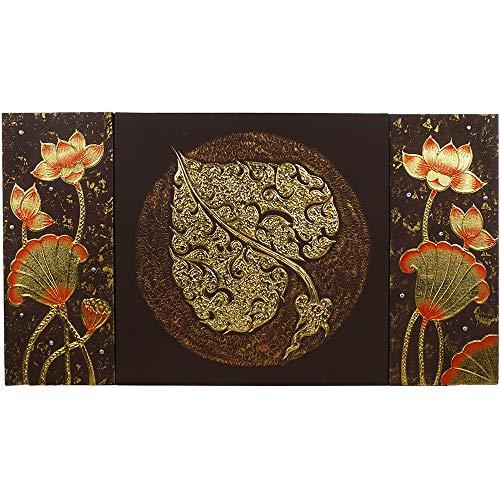 Thai Strukturbild Braun mit Blattgold - Gemälde, traditionelle Kunst aus Thailand (No. 10)