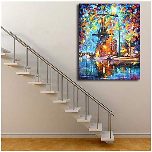 sjkkad Een molen in de buurt van Amsterdam muurkunst canvas poster afdrukken schilderij wandschilderijen voor kantoor woonkamer moderne wooncultuur 60 x 80 cm geen lijst
