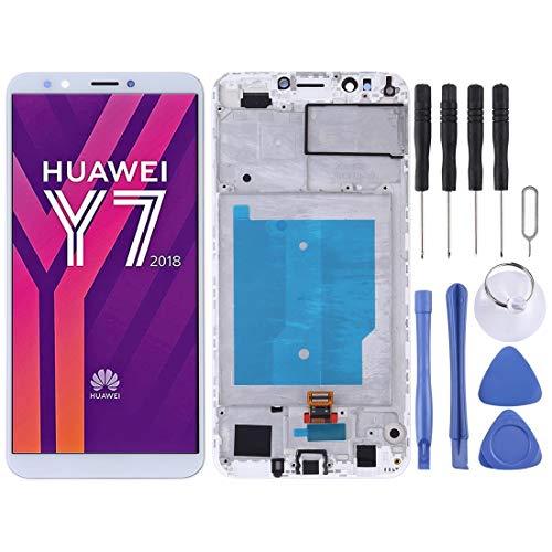 H-HX Display Reparaturset, LCD-Bildschirm und Digitizer Vollversammlung mit Rahmen for Huawei Y7 (2018) (Schwarz) (Color : White)